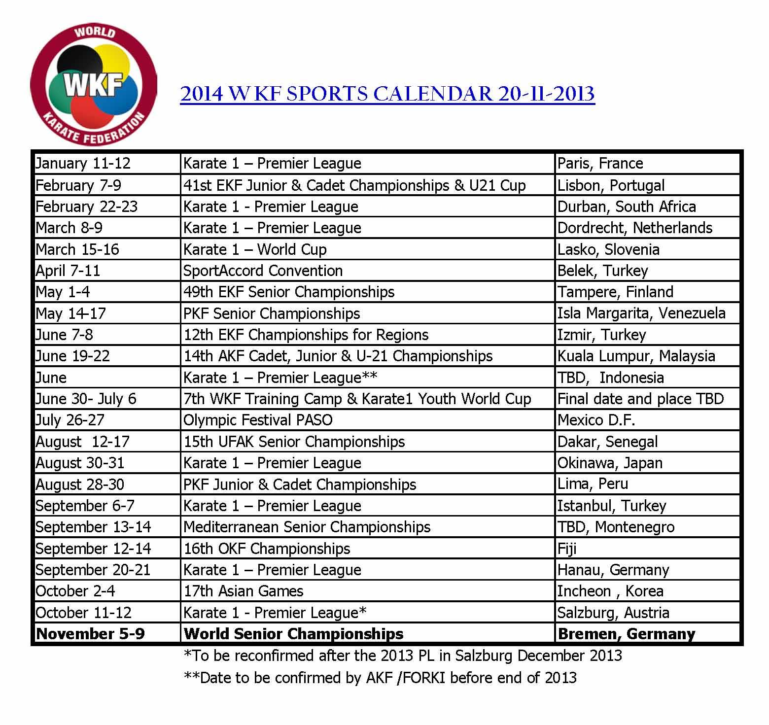 kalendar cesky ČESKÝ SVAZ KARATE: Sportovní Kalendář WKF 2014 kalendar cesky